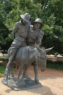 Monument to Simpson and his Donkey, an Australian War Memorial - photo by Jerrye & Roy Klotz MD;  John Simpson (Kirkpatrick) was an Australia/New Zealand army field ambulance stretcher bearer during the Gallipoli campaign in Turkey during WWI (1915).  He was known for his bravery and compassion as he used a donkey (Murphy or Duffy, depending on the source) to rescue wounded soldiers while under fire.  He was fatally wounded after 3 weeks.