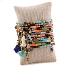 Pink House Museo Mini Button Wrap Bracelet in Bright Seed Beads
