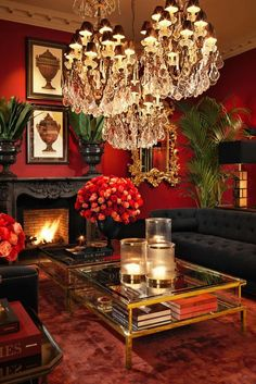 """Lovely passionately red living room from """"Sweetpea & Willow"""" French furniture boutique ( )! Living Room Red, Home And Living, Gothic Living Rooms, Victorian Living Room, Furniture Boutique, Red Rooms, Dark Interiors, Victorian Interiors, Eclectic Decor"""