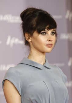 Style Ideas: Luscious Felicity Jones | perfect, natural bangs | brunette | cute updo