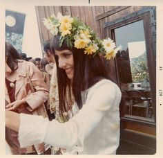 Folk singer Mimi Farina (sister to Joan Baez) at her 1968 wedding in Big Sur.