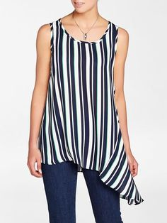 Laura. Scoop neck. Sleeveless. All over stripe print. Asymmetric trim. Pull-on style. Made in Canada....3010336-0691