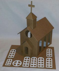 Putz Style Houses Large Church  DIY by littlevillagehouses on Etsy
