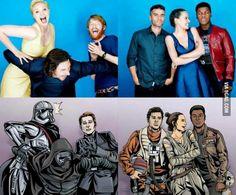 Gwendoline Christie, Adam Driver & Domhnall Gleeson vs. Oscar Isaac, Daisy Ridley & John Boyega