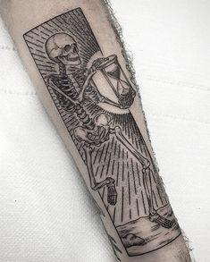 What does memento mori tattoo mean? We have memento mori tattoo ideas, designs, symbolism and we explain the meaning behind the tattoo. Skeleton Tattoos, Skull Tattoos, New Tattoos, Body Art Tattoos, Tattoos For Guys, Sleeve Tattoos, Tatoos, Woodcut Tattoo, Tarot Tattoo