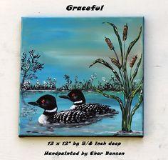Loon Painting Gift Idea Cabin Art Wall Art Home Decor Handmade Gift Artwork Handpainted Loon Artwork Home Art Acrylic Artwork