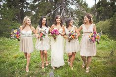 Neutral dresses with bright bouquets