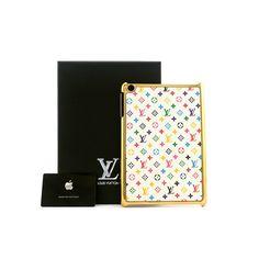 Luxury Real Cheap Louis Vuitton Leather iPad mini Cases - Gold White