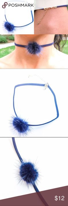 Adorable Choker Royal Blue PomPom NEW ARRIVALS!! & OHH SO HOT! A must have!  Adorable Pom Pom Choker Cute Collar Fashion Necklace Easy to wear. Goes Great with any outfit! Fast shipping!   Trendy Neckless! Trending Now! La Tends Gllaam Jewelry Necklaces