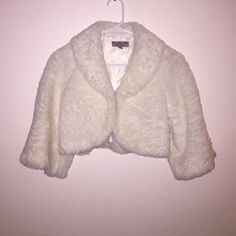 White Fur Cardigan Coat Fluff! Never worn. Half sleeve Forever 21 Sweaters Cardigans