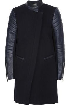 Maje|Leather and wool-blend coat|