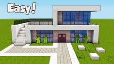 Minecraft: How To Build A Small & Easy Modern House Tutorial ( - Minecraft Servers Web - MSW - Channel Minecraft Villa, Minecraft World, Modern Minecraft Houses, Minecraft Mansion, Minecraft Plans, Minecraft Houses Blueprints, Minecraft Architecture, Minecraft Mods, Minecraft Buildings