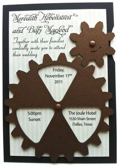Functional gear themed wedding invitation by Artifacture , via Behance