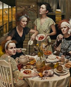 """An Invitation"" - Andrea Kowch (b. 1986), acrylic on canvas {contemporary figurative bizarre fantasy realism art outdoors females desert pies cake table messy spills women rodents animals cropped detail painting} Dazed !! andreakowch.com"