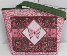 Butterfly Large Tote Bag  Day Dreams in Pink and Green by Mokadesigntotes, $40.00