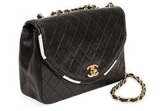 Chanel Quilted Bag w/ White Piping Trim on OneKingsLane.com
