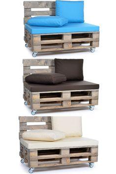 Unsere Sitz- und Lehnenkissen verwandeln Ihre Holzkonstruktion im Nu in ein individuelles Statement-Möbel der Extraklasse! Pallet Seating, Entryway Bench, Diy And Crafts, Projects To Try, Storage, Furniture, Home Decor, Pallet Daybed, Gardens