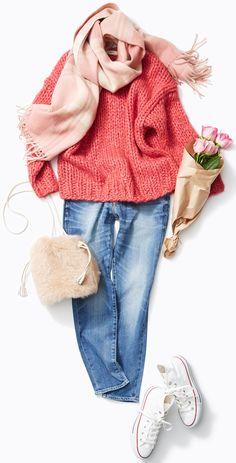 チェックやファーのスイート小物でリラックス! 人気スタイリスト入江未悠さんがルミネ北千住のショップアイテムでかわいいだけじゃない、パワーや個性をもったさまざまなピンクの使い方をレッスン!