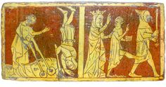 Tring Tile - n the left, a boy falls dead while playing by the River Jordan with Jesus. On the right, Jesus receives a telling off from the Virgin Mary, and raises the boy back to life with his foot.