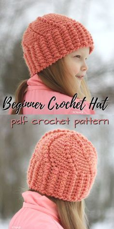 Lovely swirl stitch on this easy beginner hat crochet pattern! Lovely  pattern for children! 4b5423475f5b