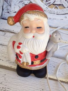 VINTAGE CHRISTMAS Ceramic Santa Clause Plug In by SundayFleaMarket Farmhouse Chic, Vintage Farmhouse, Cozy Christmas, Vintage Christmas, Favorite Holiday, Holiday Fun, Santa Clause, Business Products, Etsy Business