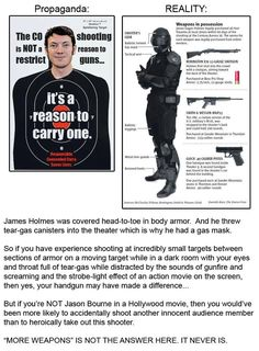 """Propaganda vs. Reality. ...But if you're NOT Jason Bourne in a Hollywood movie, then you would've been more likely to accidentally shoot another innocent audience member than to heroically take out this shooter. """"MORE WEAPONS"""" IS NOT THE ANSWER HERE. IT NEVER IS."""
