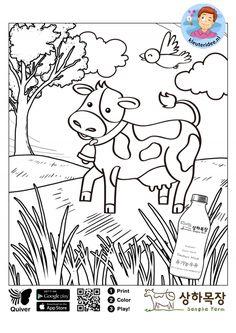 Interactieve kleurplaat koe voor kleuters, kleuteridee.nl