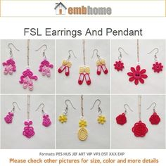 FSL Earrings And Pendant Free Standing Lace Machine Embroidery Designs Instant Download 4x4 hoop 10 designs APE1998