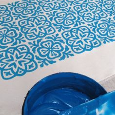 Moroccan Tile Hand Screen Printed Fabric Fat by HelenRawlinson