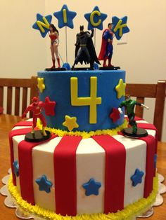 Justice league birthday cake!   Www.Facebook.Com/sarahssweetsensationsohio