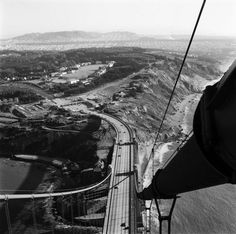 The view south from atop the Golden Gate Bridge in 1955.