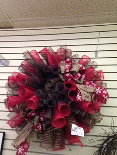 Brown and Red Mesh Wreath