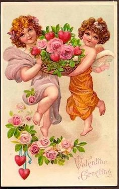 Angels carrying a basket of roses. Vintage Valentine Card.  suzilove.com