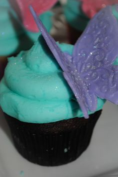 Butterfly Theme 1st Birthday Party (twins) By: La Chic Treat GLITTERY BUTTERFLY CUPCAKES www.LaChicTreat.com 631.747.2630
