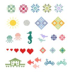 18 small cross stitch motifs come in this instantly downloadable PDF pattern. Several of the motifs are pictured in color variations to give