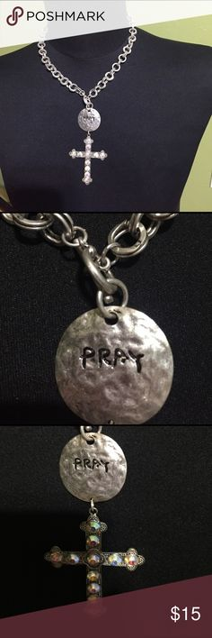 Beautiful  Pray  Cross necklace Beautiful necklace  says PRAY on disk - stoned cross dangles below Jewelry Necklaces