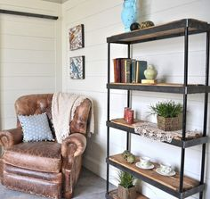 Rustic Industrial Steel Bookcase 6ftx3ftx1ft