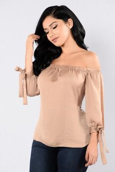 Available in Gold, Blue, Sand, Black, and Plum Off the Shoulder Tie Detail on Sleeves Open Side Sleeves Satin Polyester Off Shoulder Blouse, Off The Shoulder, Motown, Bell Sleeve Top, Satin, My Style, Janet Guzman, Sleeves, Blue