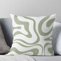 Liquid Swirl Abstract Pattern In White And Sage Green Throw Pillow by kierkegaard