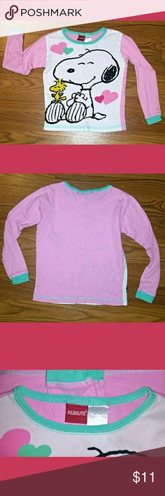 Peanuts Snoopy Girls Top Sz 8 Cute Snoopy long sleeve t-shirt. Soft and cozy. No stains, rips, tears or holes. Excellent condition.  Smoke and pet free home. NO trades. Peanuts Shirts & Tops