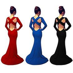 Black Sexy Backless Cross Strap Maxi Floor Length Long Bandage Slim Evening Dress