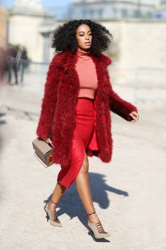 Solange Knowles Nails The Tonal Trend In One - we love how cosy that coat looks!