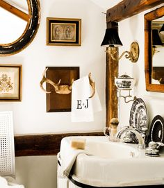 a handsome black and white powder room. Home of Interior Designer Eddie Ross.-plates on the sink? Decor, Room, House, Interior, Home, Masculine Bathroom, Interior Design, Bathroom Design, Bathroom Decor