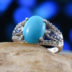 Arizona Sleeping Beauty Turquoise, Tanzanite, and Cambodian Zircon Platinum Over Sterling Silver Ring