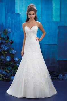 Allure Bridals 9420 is a strapless sweetheart wedding gown with an A-line silhouette and lace embroidery that covers the dress from the neckline to just above the hemline. A beaded neckline and back add sparkling finishing touches to this refined look. Spring 2017 Wedding Dresses, Wedding Dress Sizes, Bridal Wedding Dresses, Princess Wedding Dresses, Lace Wedding, Bridal Lace, Bridal Style, Allure Bridals, Olive Bridesmaid Dresses