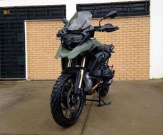 #BMW GS in camoflage green with TKC 80 tyres