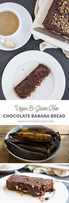 This triple chocolate gluten free and vegan banana bread is dense chocolatey and fudgy like the very best brownie. Dairy Free Egg Free and totally delicious. Gluten Free Deserts, Best Gluten Free Recipes, Delicious Vegan Recipes, Gluten Free Baking, Vegan Baking, Sweet Recipes, Vegan Banana Bread, Chocolate Banana Bread, Gluten Free Chocolate