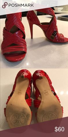 Tory Burch red heals. Size 7 Beautiful, hardly worn Tory Burch heels. True to size, size 7. Tory Burch Shoes Heels