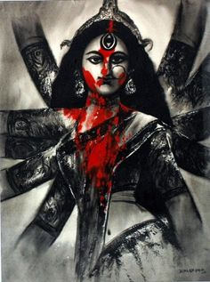 Durga - Biplab Dalai - Water Colour - 30 x 22 # Durga Maa Paintings, Durga Painting, Indian Art Paintings, Kali Goddess, Indian Goddess, Shiva Art, Hindu Art, Shiva Shakti, Dark Art Drawings
