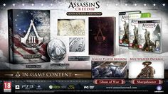 A retail copy of Assassin's Creed III - A collector's box - Ratonhnhaké:ton's medallion - George Washington's notebook - An exclusive single player mission, Ghost of War - An additional Animi Avatar, the Sharpshooter